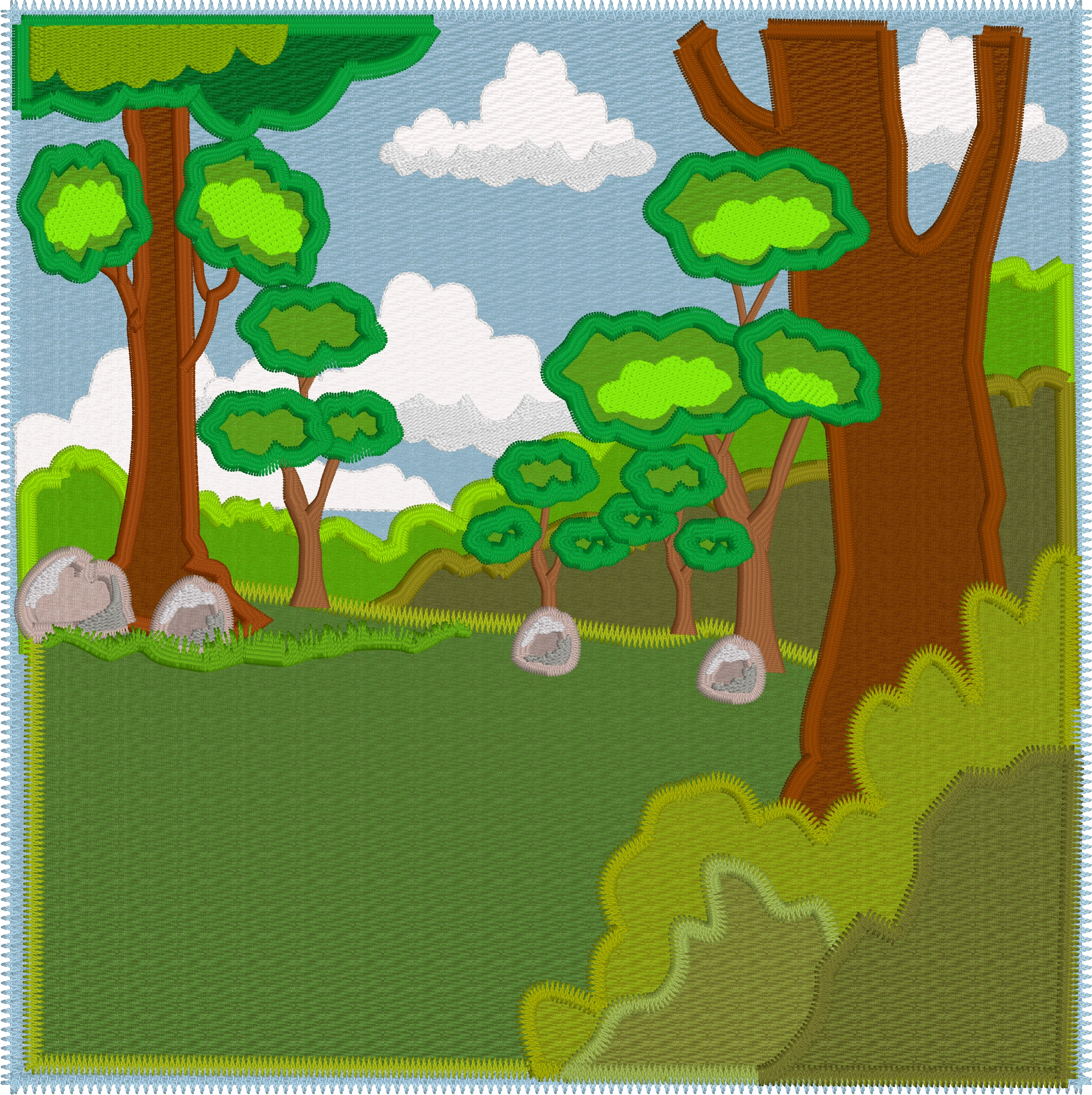 In the woods - 8x8 quiet book page - Including SVG files