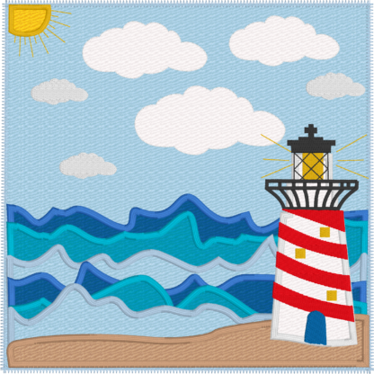 Daytime sea scene with lighthouse - ITHWL