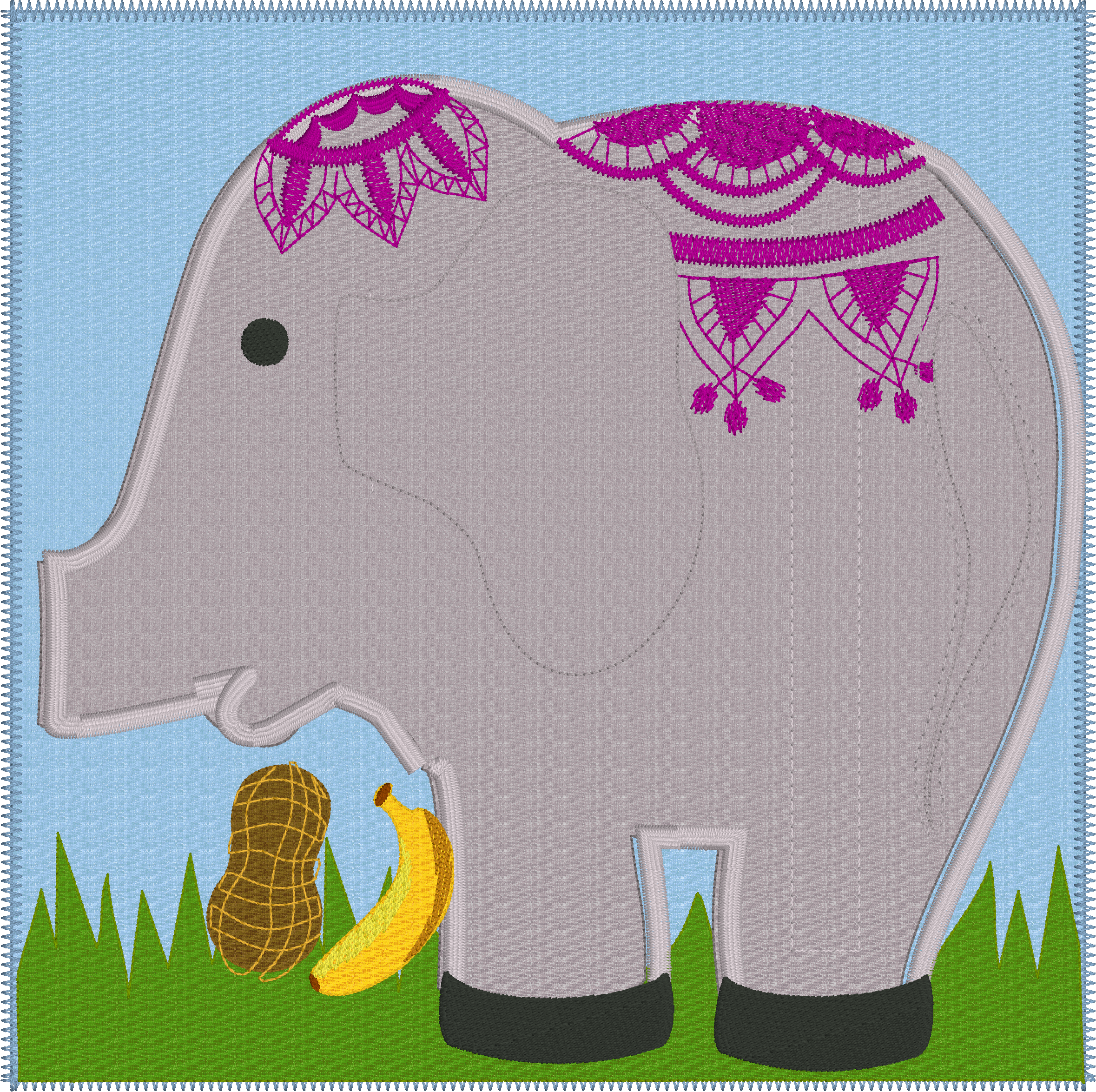 Elephant feeding zipper page – Including SVG files – In the Hoop ...
