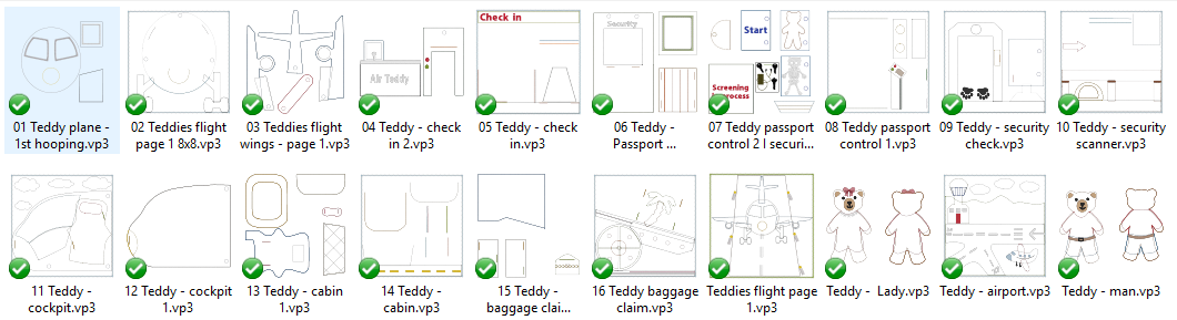 Teddies flight 8x8 quiet book pages - ITHWL