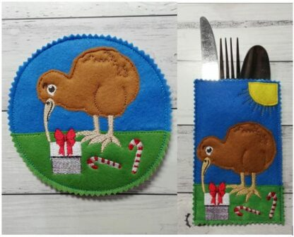 Kiwi cutlery holder & coaster - ITHWL