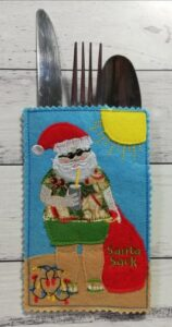 Summer santa cutlery holder